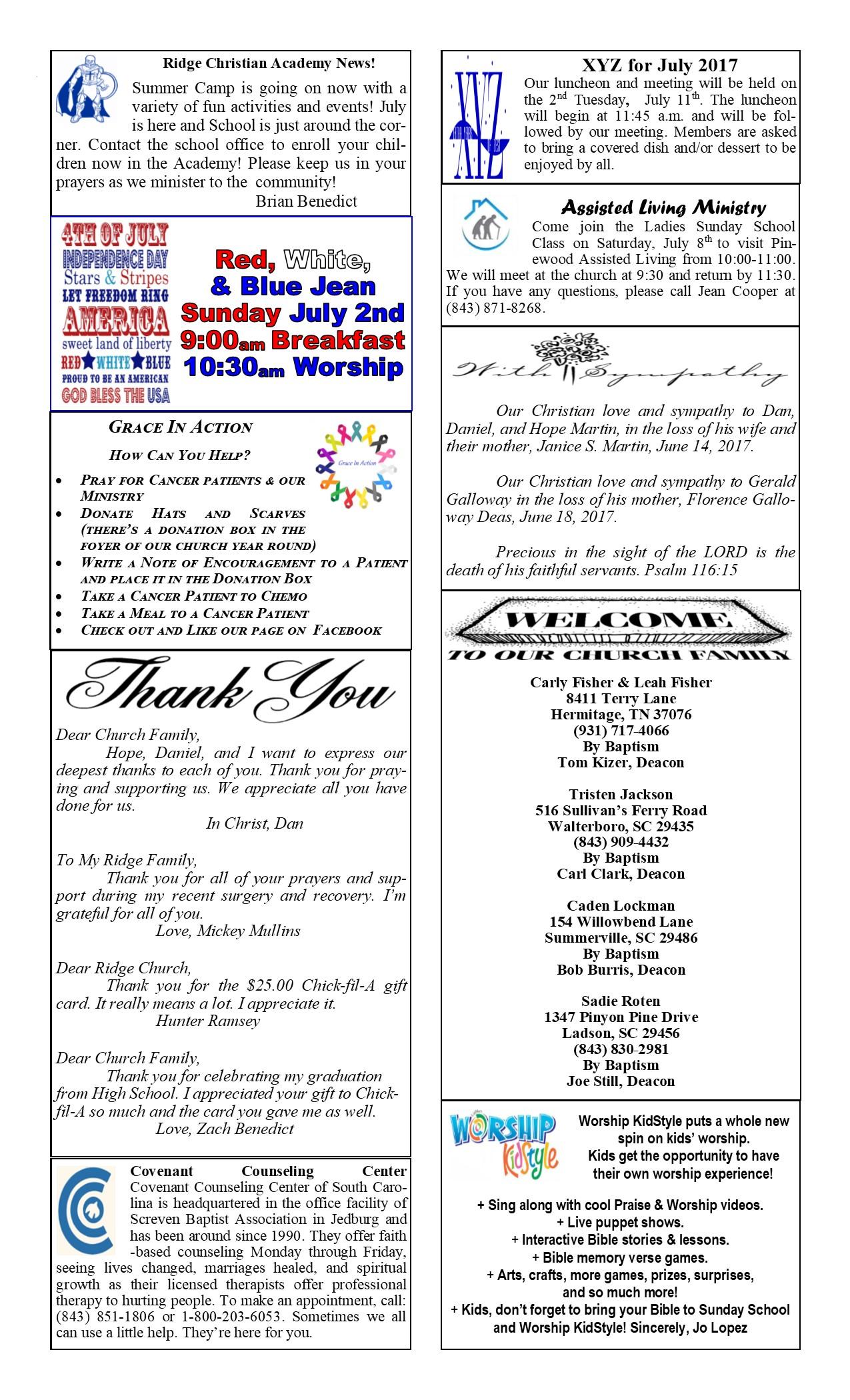 Calendar – Ridge Baptist Church